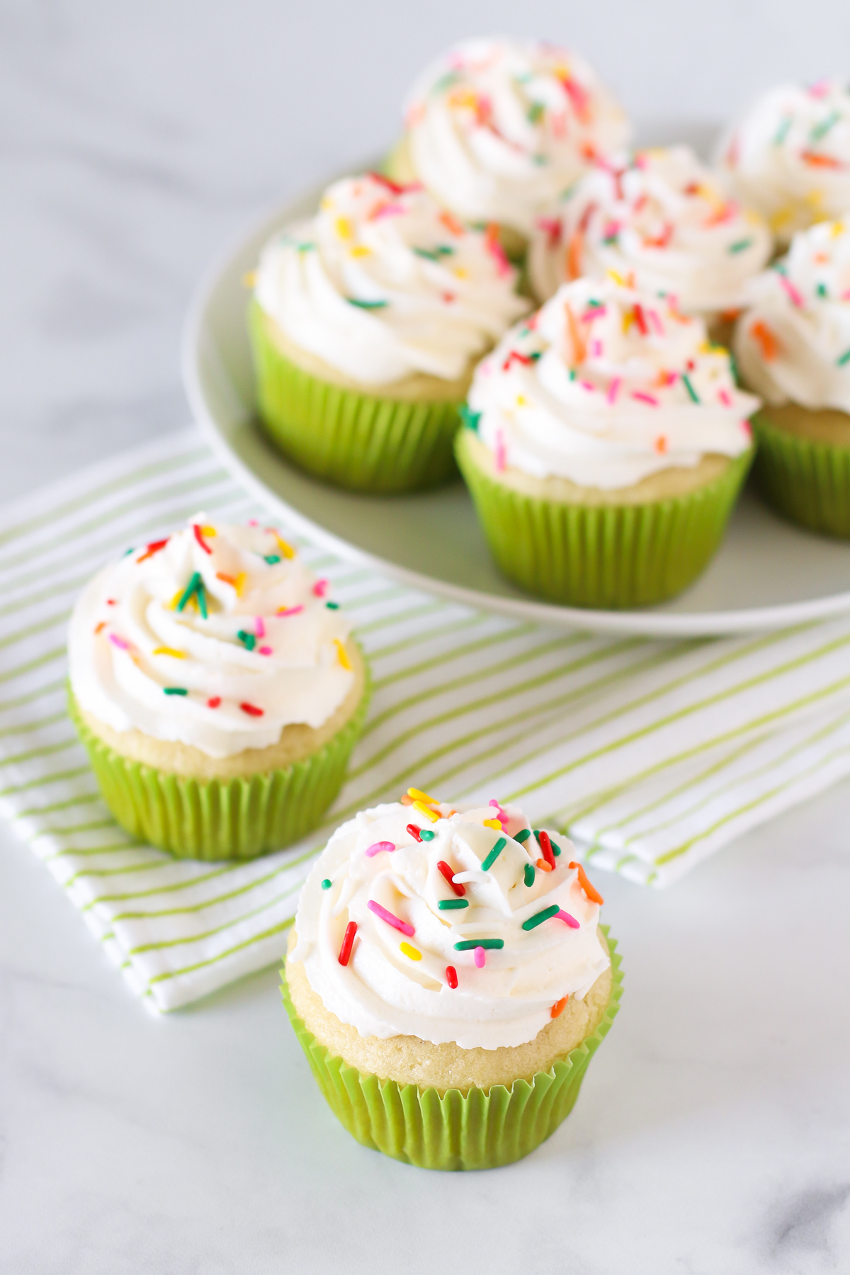Gluten Free Vegan Vanilla Cupcakes. Light, fluffy cupcakes with a whipped, creamy vanilla buttercream. Just about the perfect allergen free cupcake!