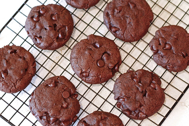 Gluten Free Vegan Chocolate Chocolate Chip Cookies. Double the chocolate goodness!