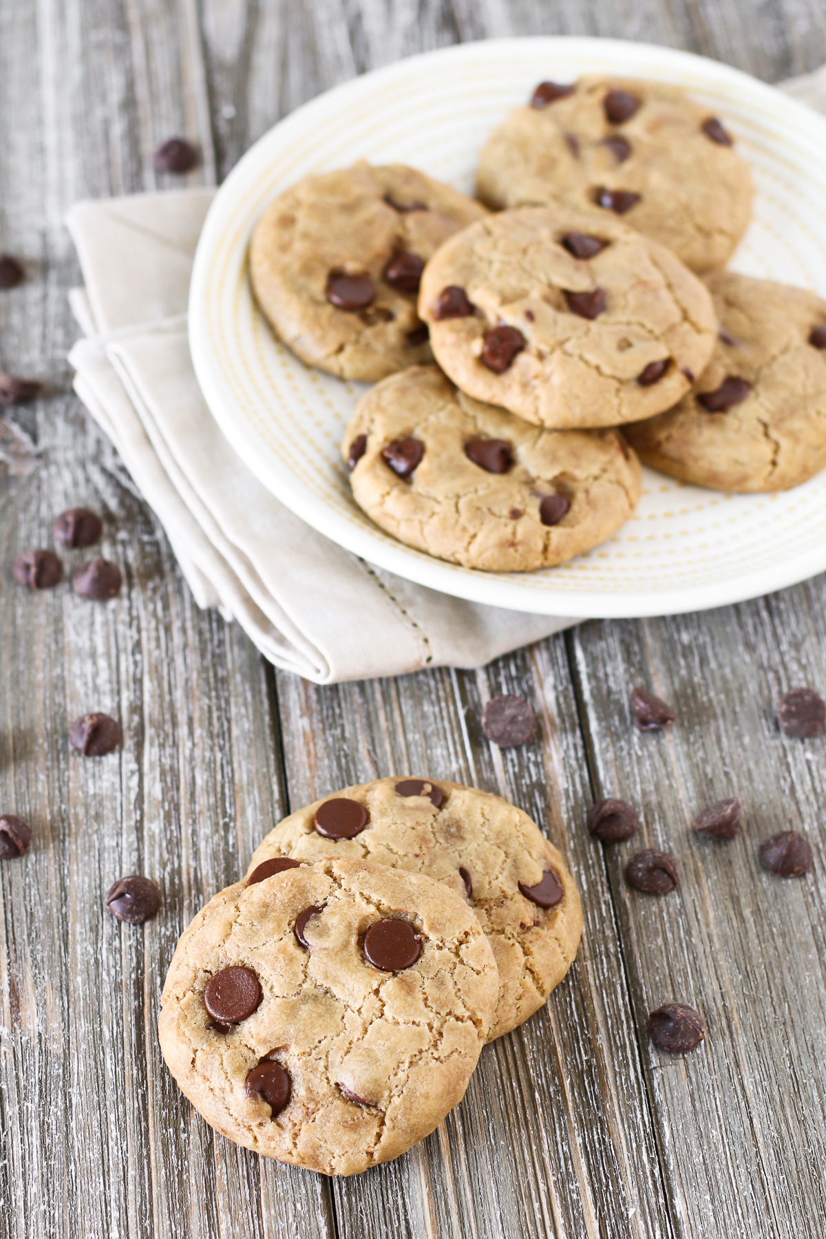 The Perfect Gluten Free Vegan Chocolate Chip Cookie. Crispy on the edges, gooey and chewy in the center and loaded with chocolate chips. That's what makes these the BEST chocolate chip cookies!