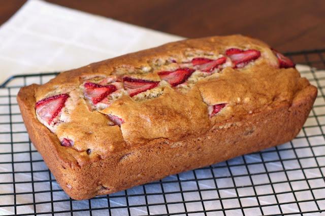 Gluten Free Vegan Strawberry Banana Bread. Fresh strawberries, folded into a gorgeous loaf of banana bread.