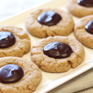 gluten free vegan peanut butter chocolate thumbprint cookies