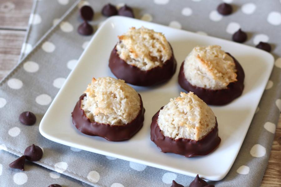 gluten free vegan chocolate-dipped coconut macaroons