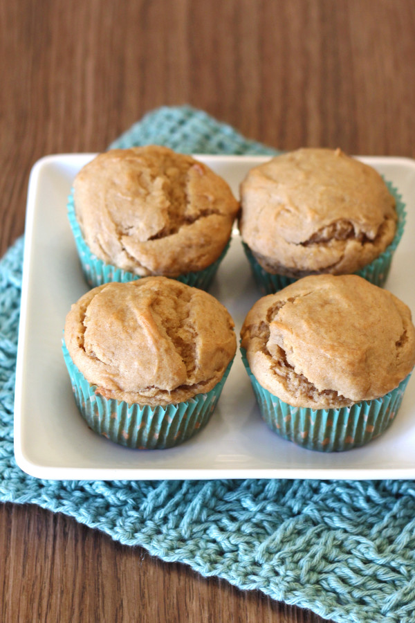 Gluten Free Peanut Butter Banana Muffins. A little protein, a whole lot of deliciousness!