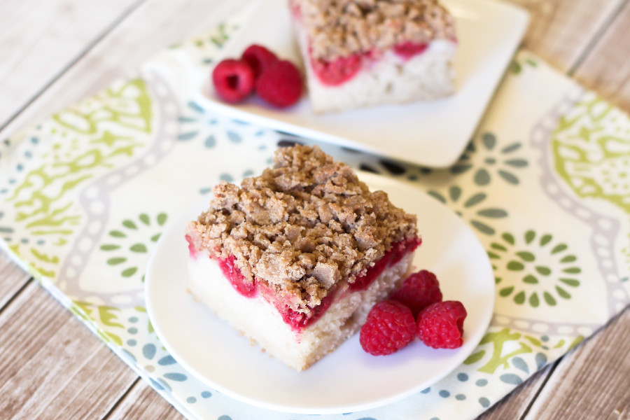 Gluten Free Vegan Raspberry Coffee Cake. Perfect served with a hot cup of coffee on a chilly spring morning!