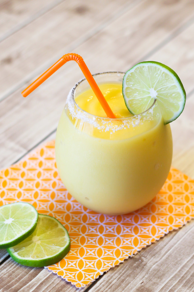 Mango Coconut Margaritas. A refreshing and tropical blended frozen drink!