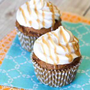 Gluten Free Vegan Pumpkin Spice Latte Latte Cupcakes. A little pumpkin, a little coffee. Recipe found at Sarah Bakes Gluten Free.