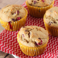 gluten free vegan banana cranberry muffins