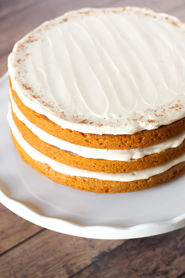gluten free vegan pumpkin layer cake with cream cheese frosting