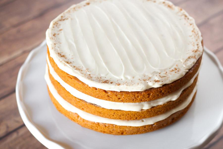 gluten free vegan pumpkin layer cake with cream cheese frosting2