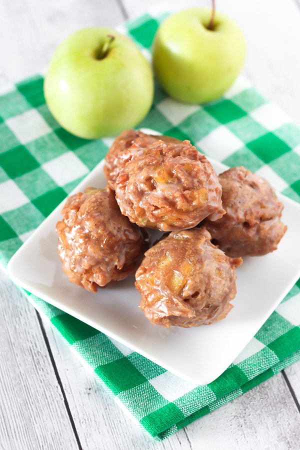 Gluten Free Vegan Apple Fritters. Little glazed apple fritters, fried to donut perfection!