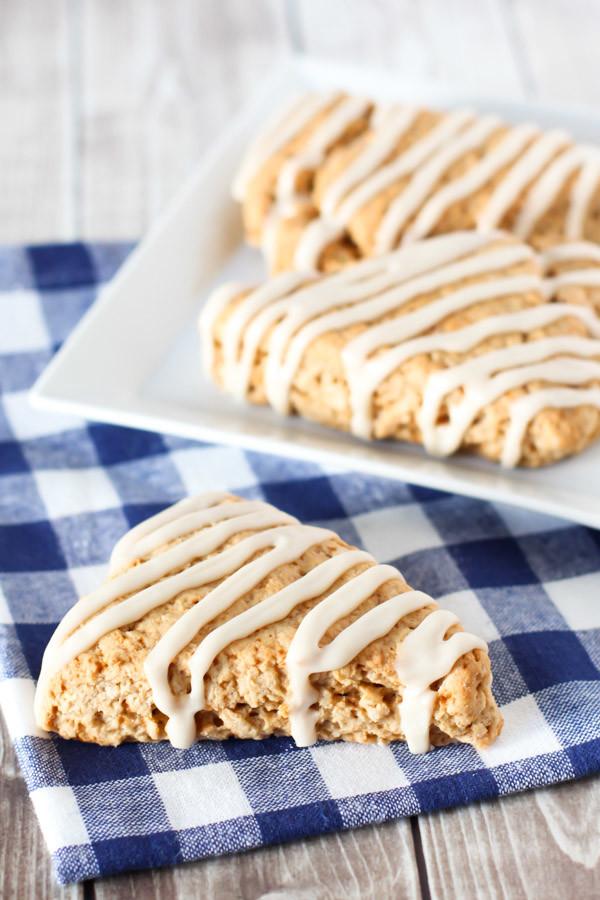 Gluten Free Vegan Maple Oat Scones. Tender scones with a simple maple glaze.