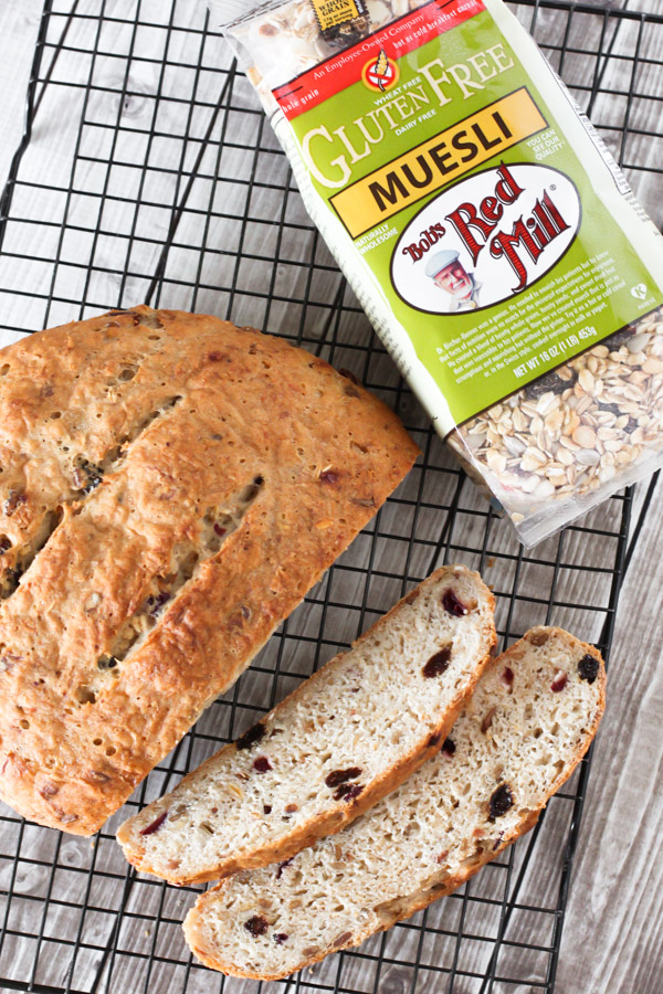 Gluten Free Muesli Bread, made with Bob's Red Mill Gluten Free Muesli. Studded with seeds, dried fruit and oats!