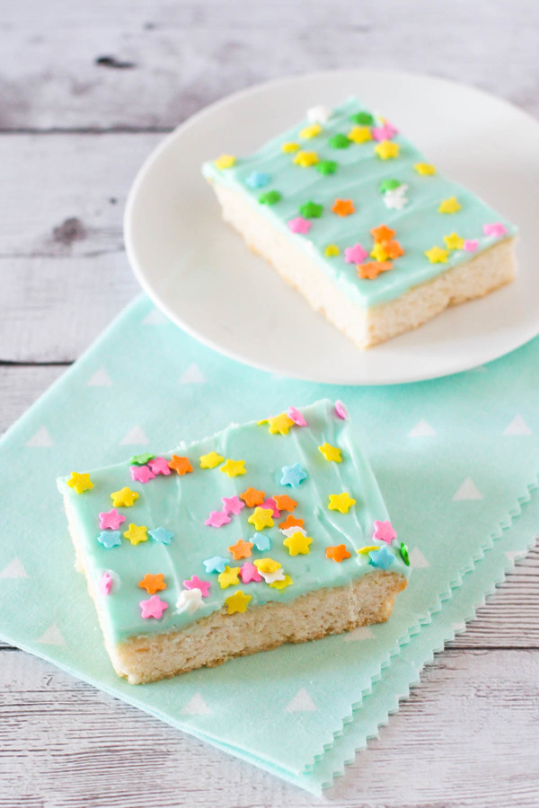 Gluten Free Vegan Frosted Sugar Cookie Bars. A quick way to make soft sugar cookies. Great for serving at parties or potlucks!
