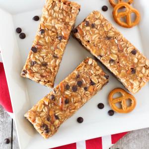 gluten free peanut butter pretzel granola bars