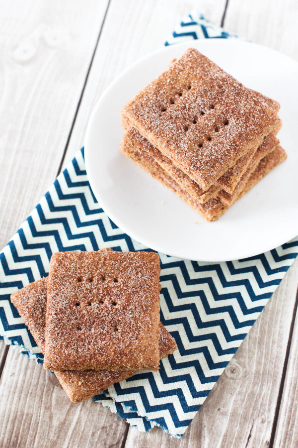 Gluten Free Vegan Cinnamon Sugar Graham Crackers. A beloved childhood snack, with a little sweet cinnamon topping!