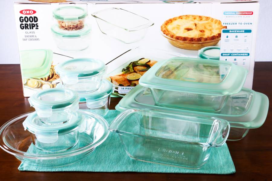 OXO G14 Piece Glass Bake, Serve and Store Set. With snap-on lids, they are perfect for baking, storing and reheating!