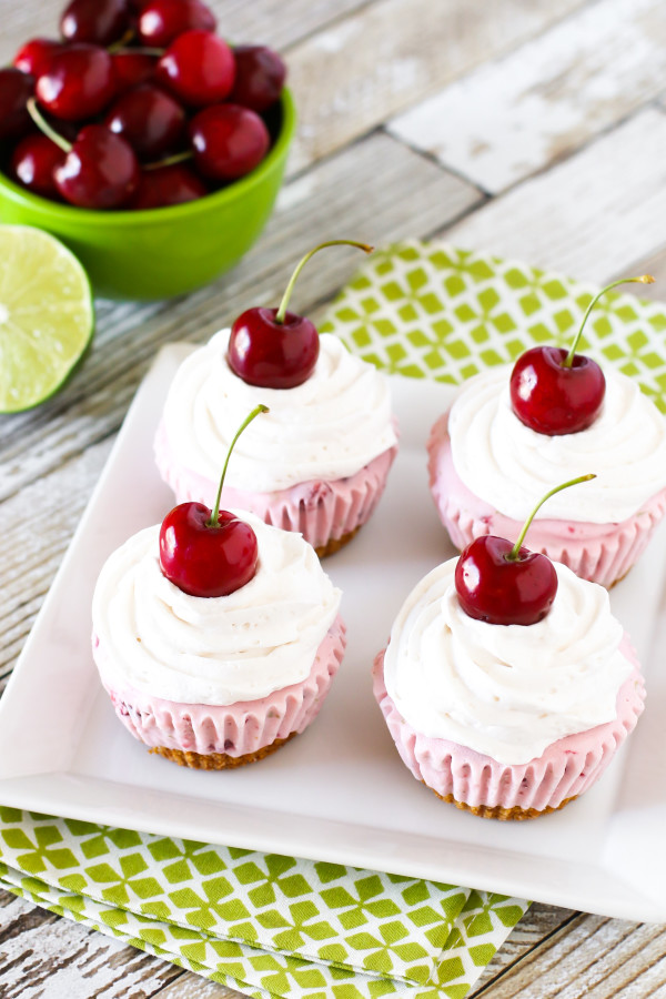 Gluten Free Vegan Cherry Limeade Ice Cream Cupcakes. A pretzel crust, topped with a zesty dairy free cherry lime ice cream and creamy Cocowhip. Don't forget the cherry on top!