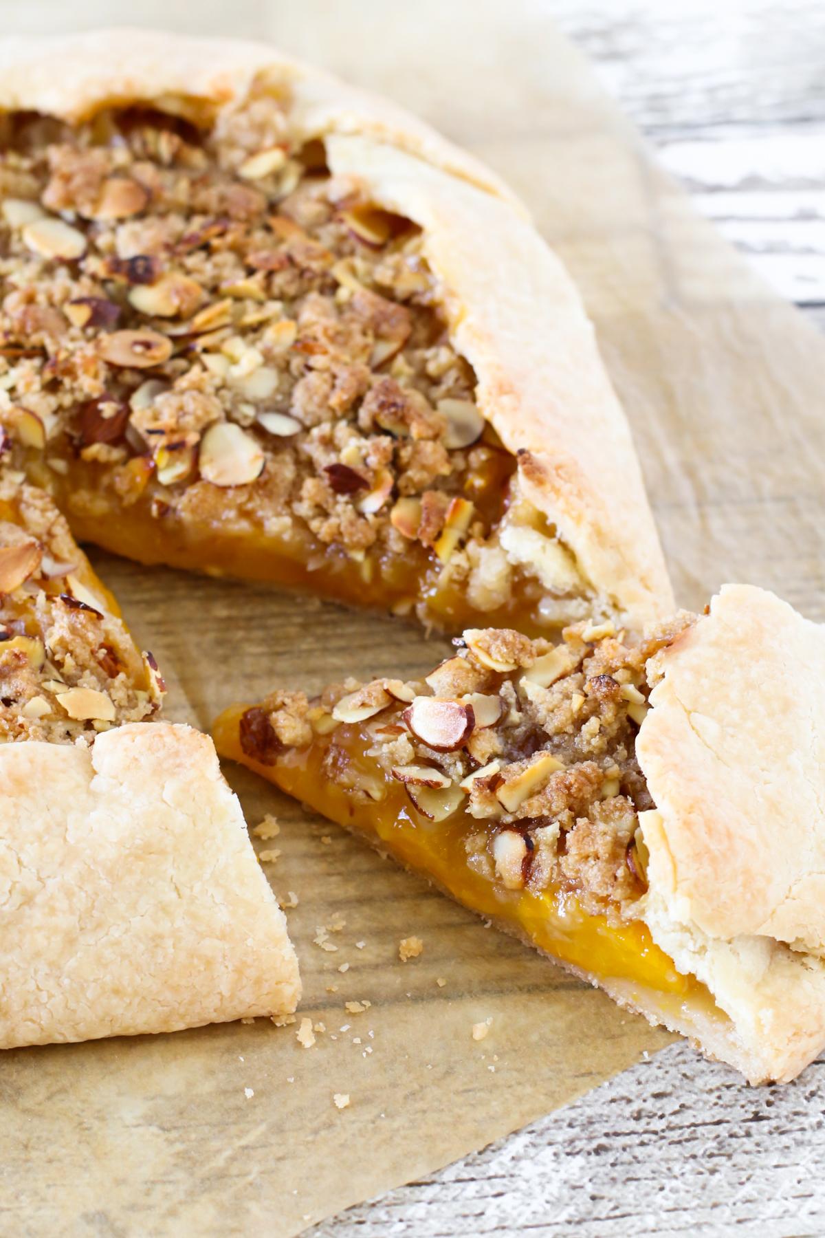 Gluten Free Vegan Peach Almond Crostata