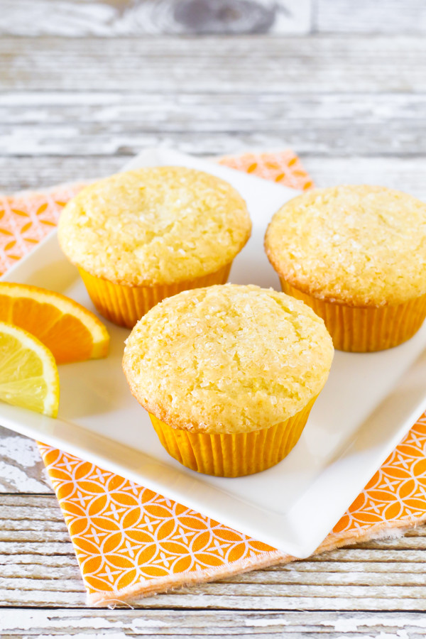 Gluten Free Vegan Sunshine Citrus Muffins. Fresh orange and fresh lemon give these light muffins a delicious brightness!
