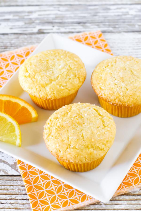 Gluten Free Vegan Sunshine Citrus Muffins. Fresh orange and fresh lemon give these light muffins a delicious brightness!