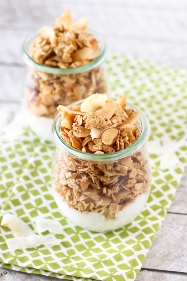 Gluten Free Coconutty Granola. Loads of toasted coconut chips and crunchy almonds, this is one NUTTY granola recipe!