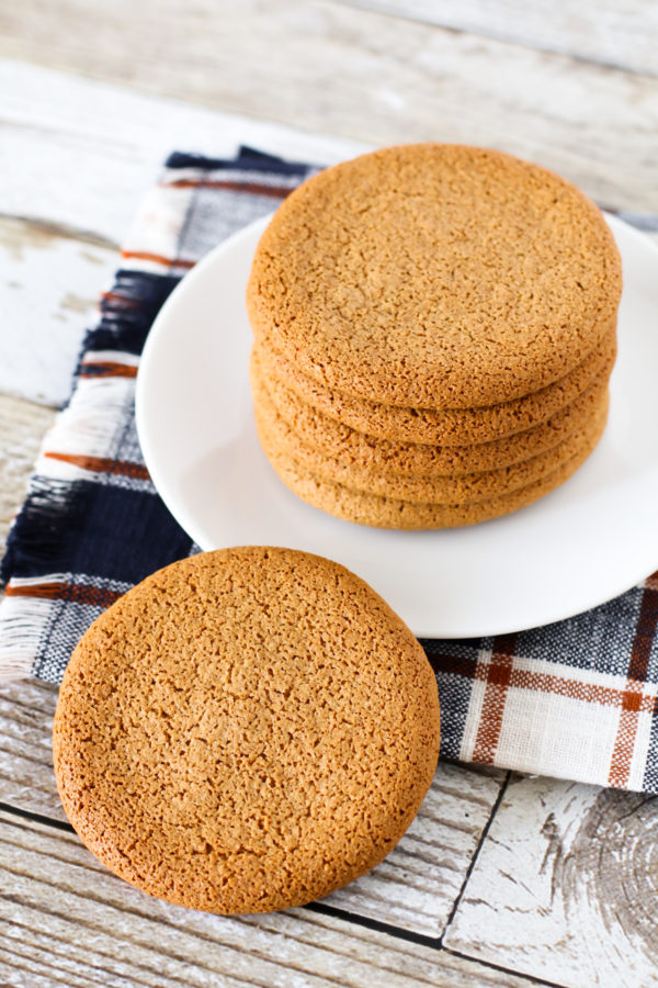 "Grain Free Gingersnap Cookies from the Against All Grain Celebrations Cookbook. Perfectly crisp, great ginger flavor and yes, they've got that ""snap!"""