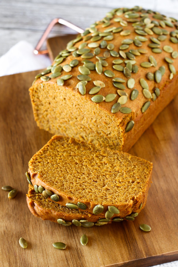 Gluten Free Vegan Pumpkin Spice Bread. Slices of this beautiful fall quick bread are sure to please!