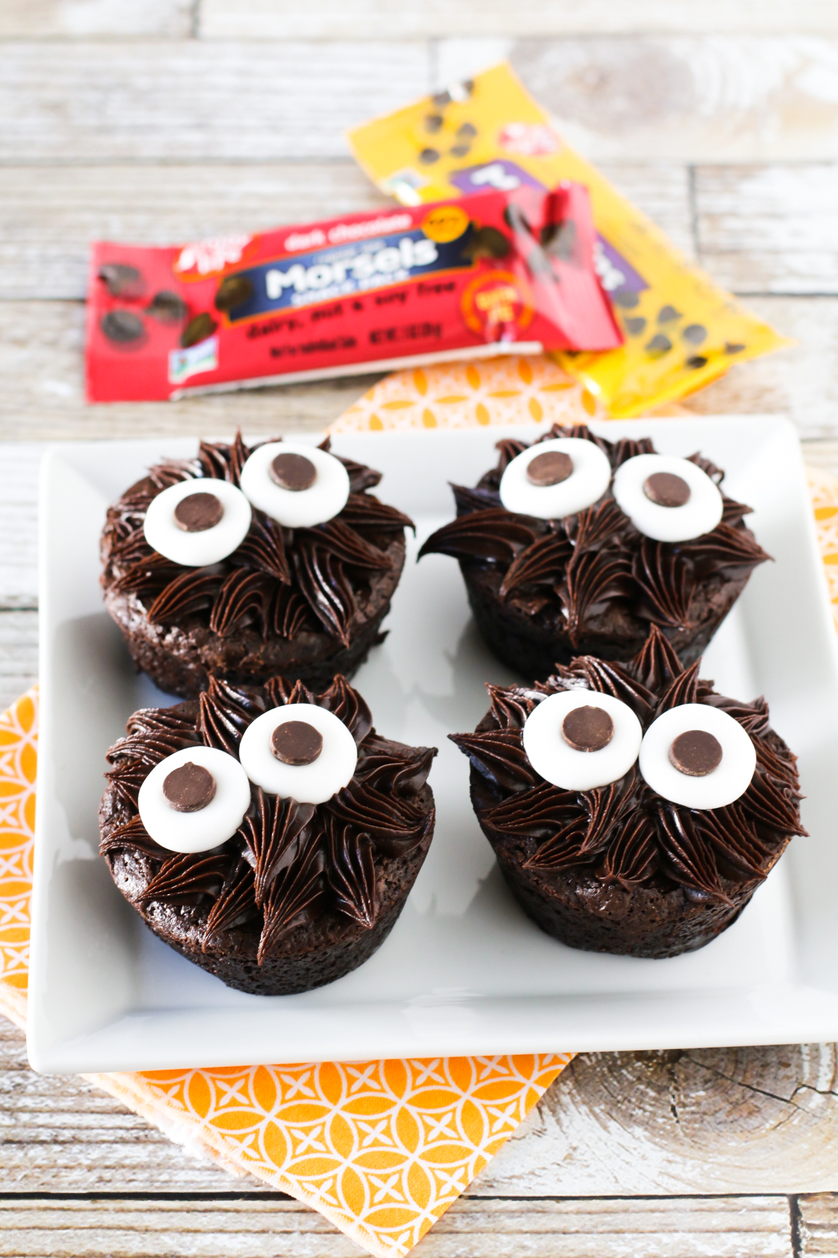 Gluten Free Vegan Chocolate Monster Brownies. These adorable frosted brownies are allergen free and made with Enjoy Life chocolate chips!