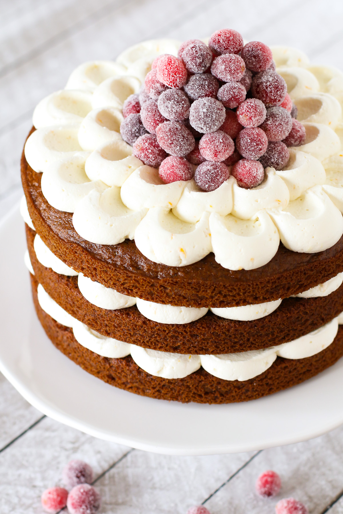 Layer Cake with Sugared Cranberries. Layers of gingerbread spice cake ...