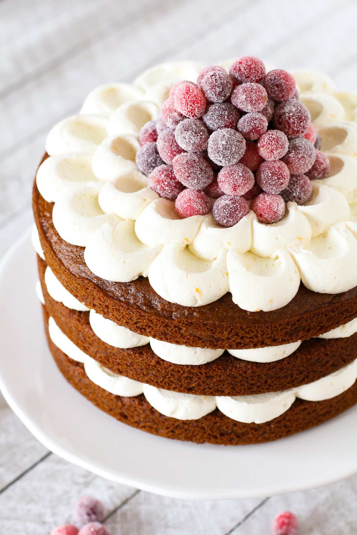 Gluten Free Vegan Gingerbread Layer Cake with Sugared Cranberries. Layers of gingerbread spice cake and dairy free orange buttercream, topped with a mountain of beautiful sugared cranberries!