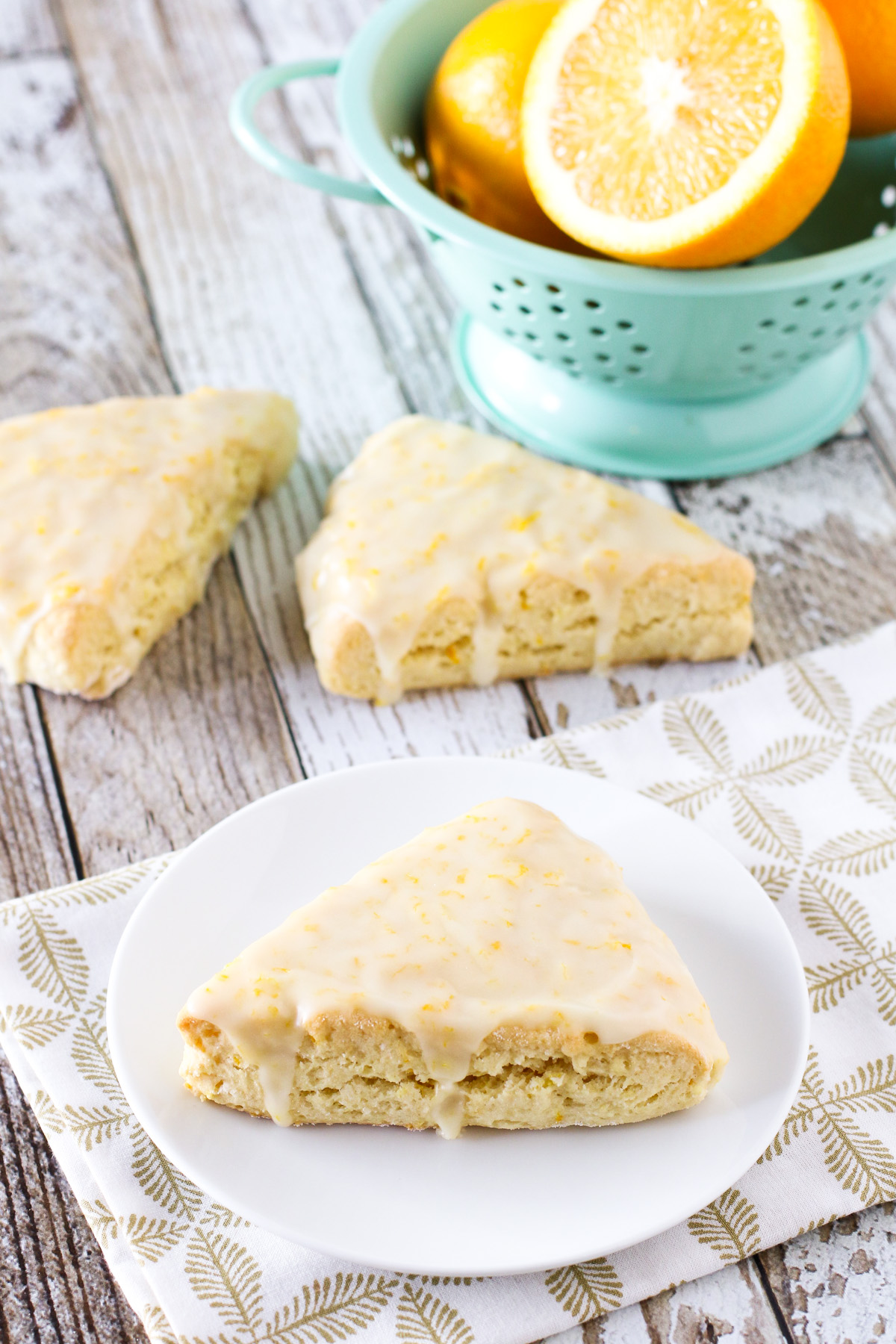 Gluten Free Vegan Sweet Orange Scones. Tender orange scones covered with a sweet, fresh orange glaze.