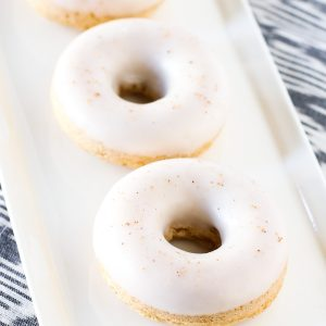 Gluten Free Vegan Baked Eggnog Donuts. Holiday flavor of creamy eggnog in these fluffy baked donuts.