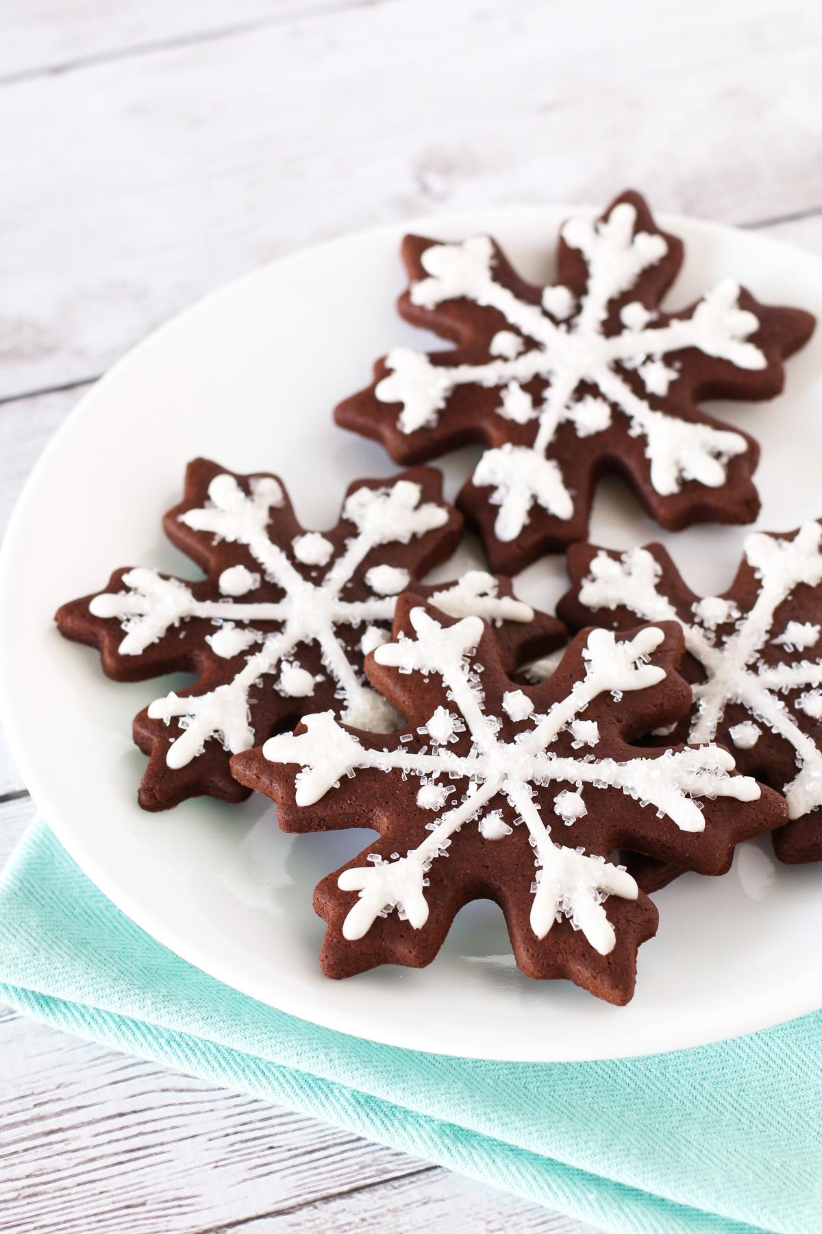 Gluten Free Vegan Chocolate Snowflake Sugar Cookies