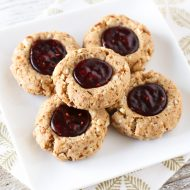 gluten free vegan raspberry thumbprint cookies