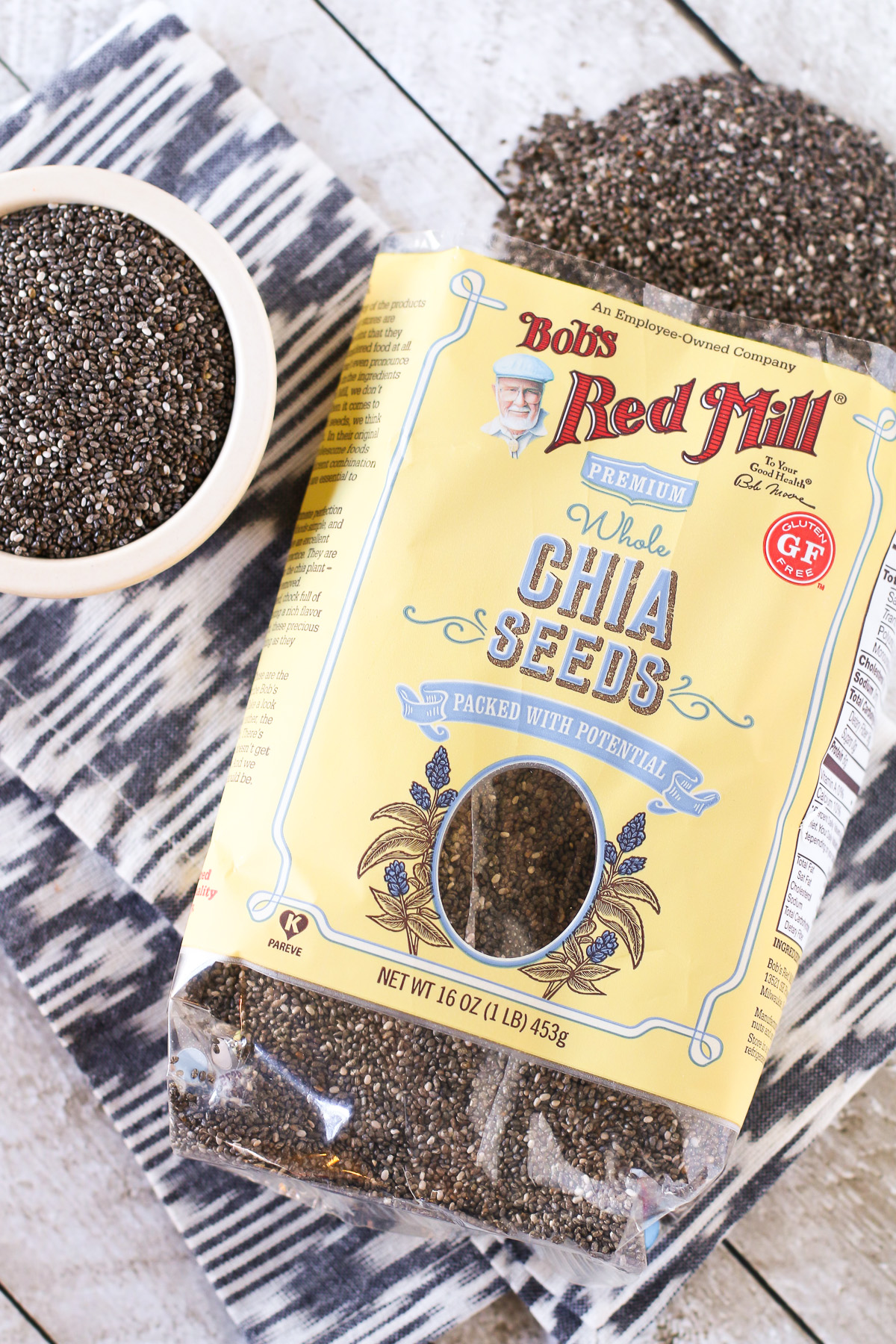 Bob's Red Mill Chia Seeds. These little super-seeds are packed with antioxidants, omega-3's and fiber. Great for making chia seed pudding!