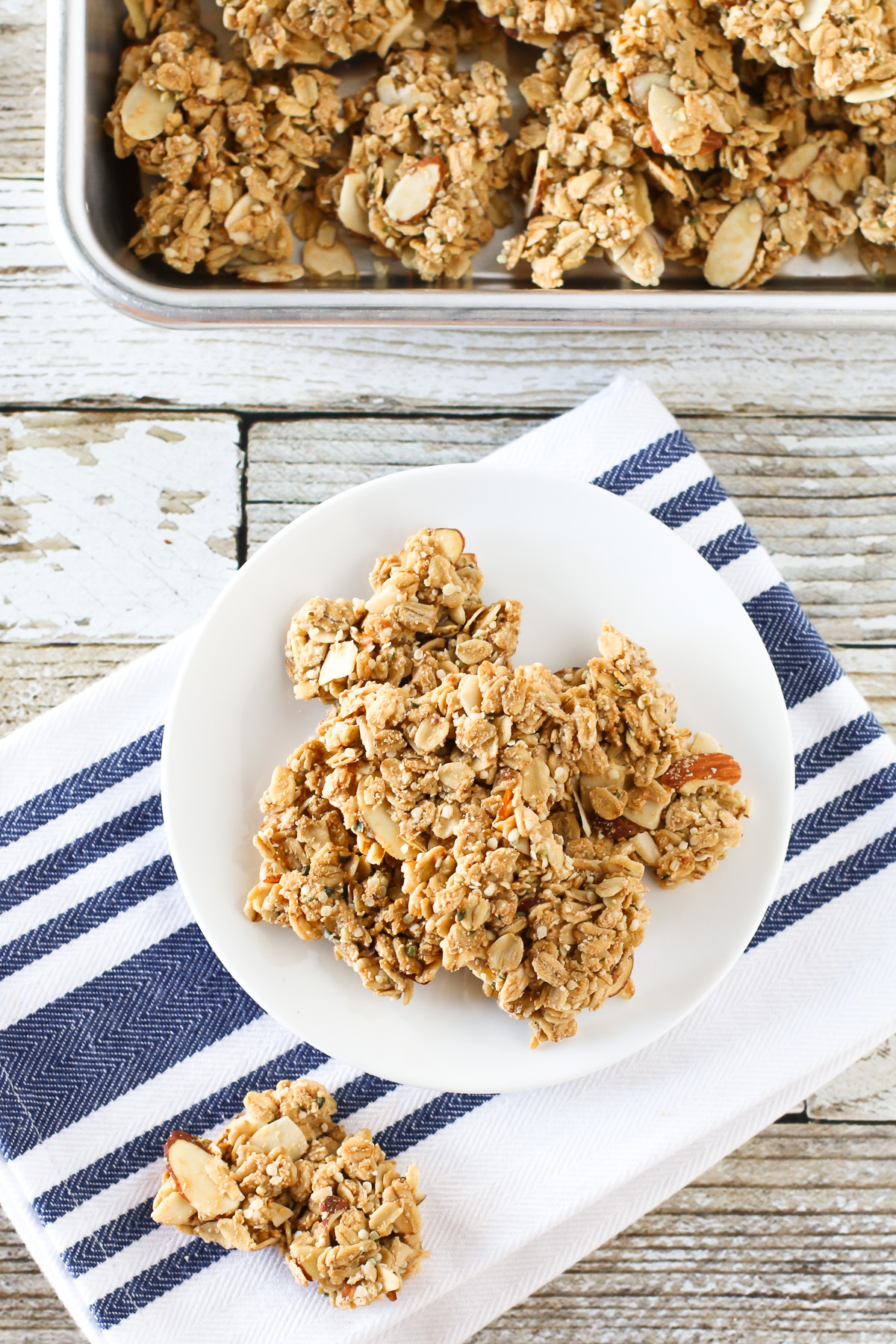 Gluten free vegan maple almond granola clusters. The best part of granola! Crunchy clusters of maple-sweetened granola, packed with almonds and completely irresistible.