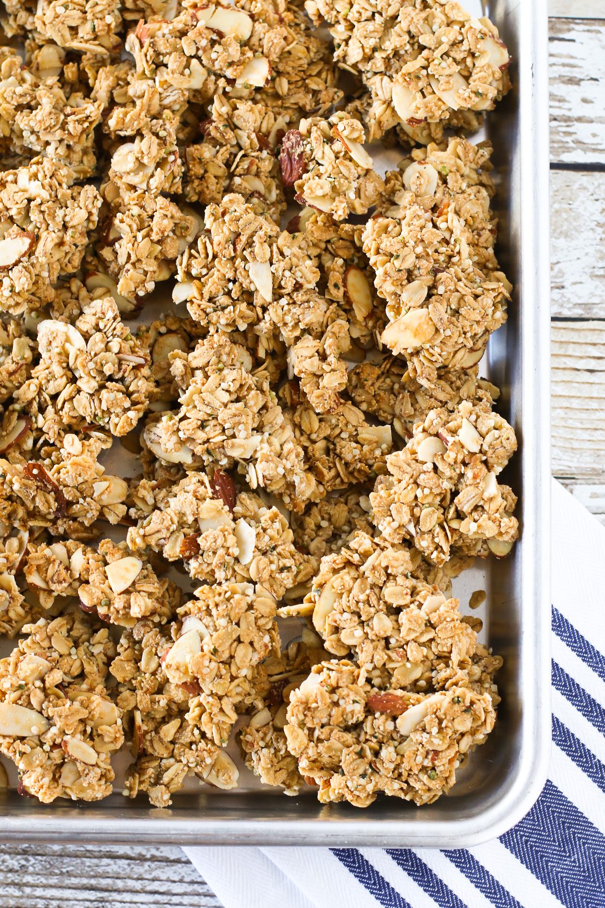 Gluten Free Vegan Maple Almond Granola Clusters. Crunchy clusters of maple-sweetened granola, packed with almonds and protein.