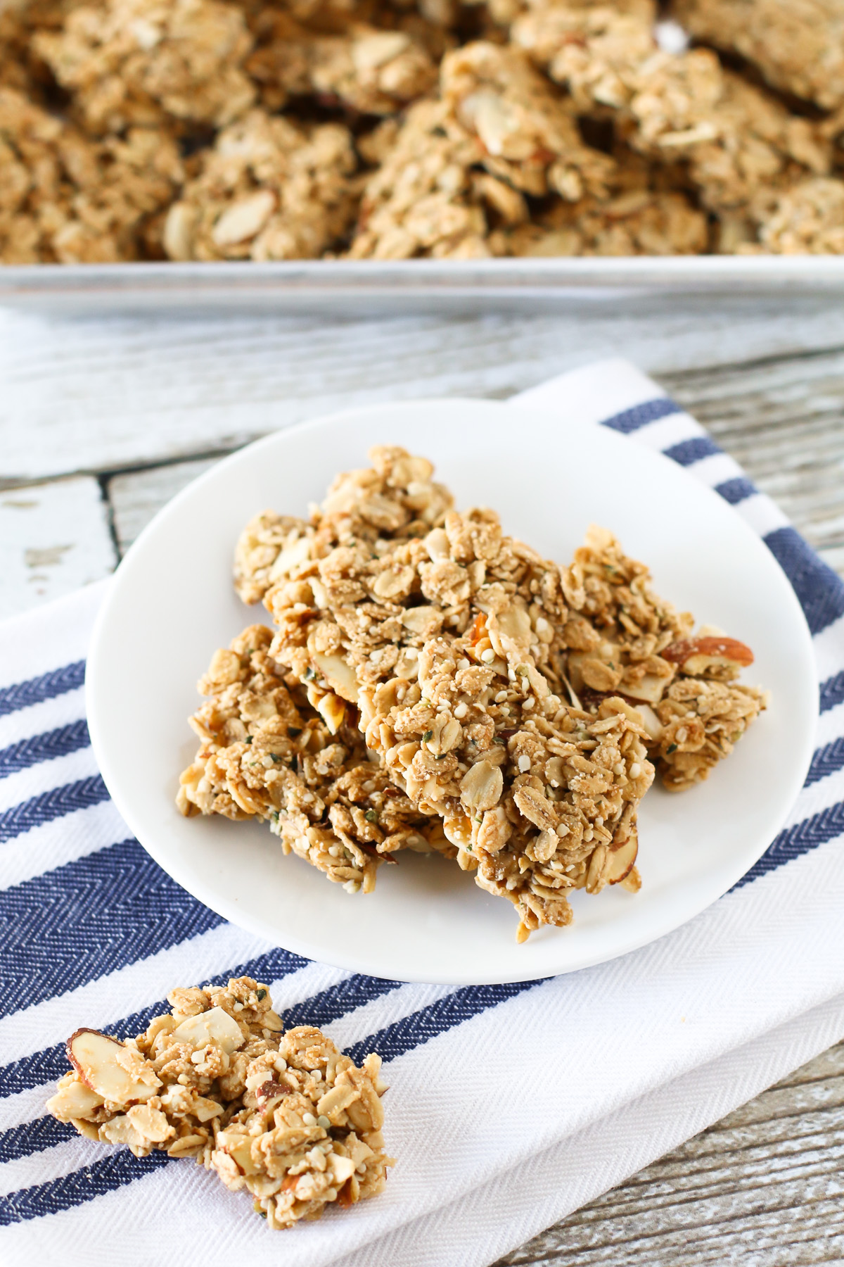 Gluten Free Vegan Maple Almond Granola Clusters. Crispy, crunchy clusters of maple-sweetened granola. Packed with protein too!