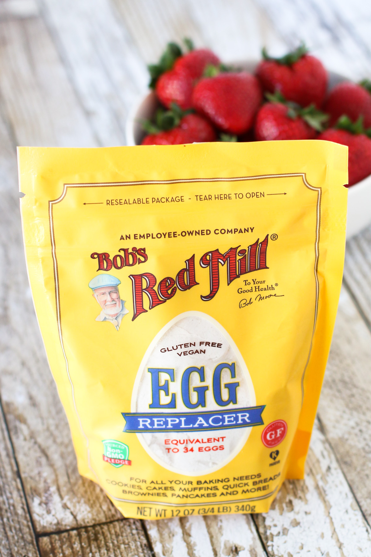 Bob's Red Mill Egg Replacer. Makes these gluten free vegan double chocolate pancakes oh so light and fluffy!