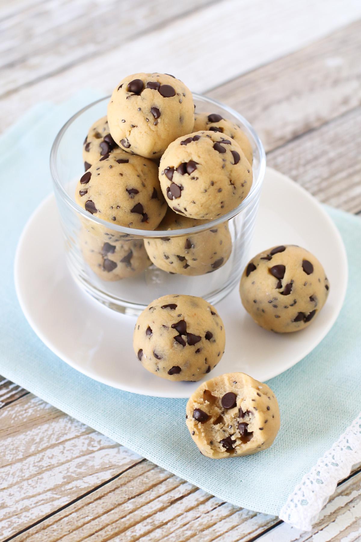 Chocolate Chip Cookie Dough Protein Bites. These no-bake protein bites tastes just like cookie dough, loaded with mini chocolate chips.