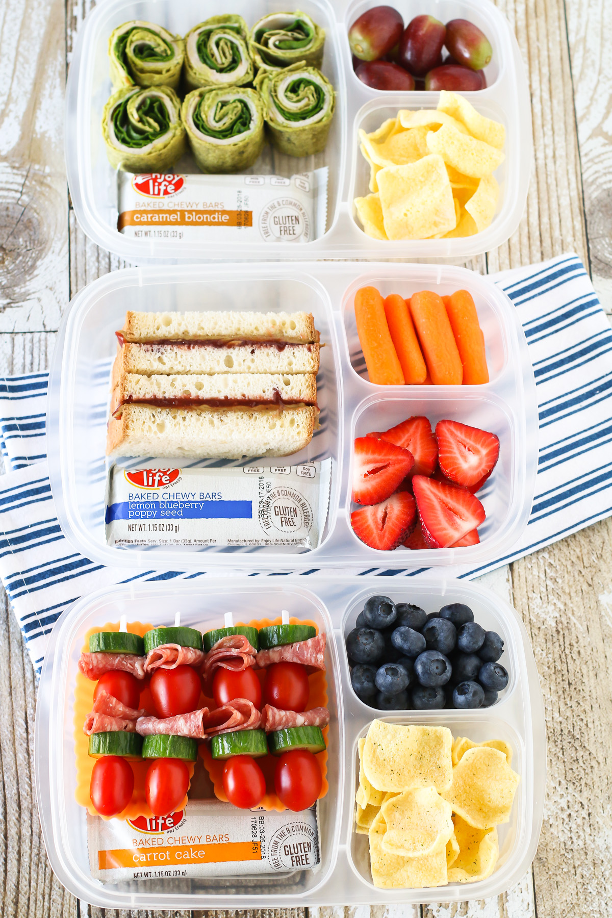 Easy Allergen Free School Lunches. 3 allergen free lunch ideas, featuring Enjoy Life Baked Chewy Bars!