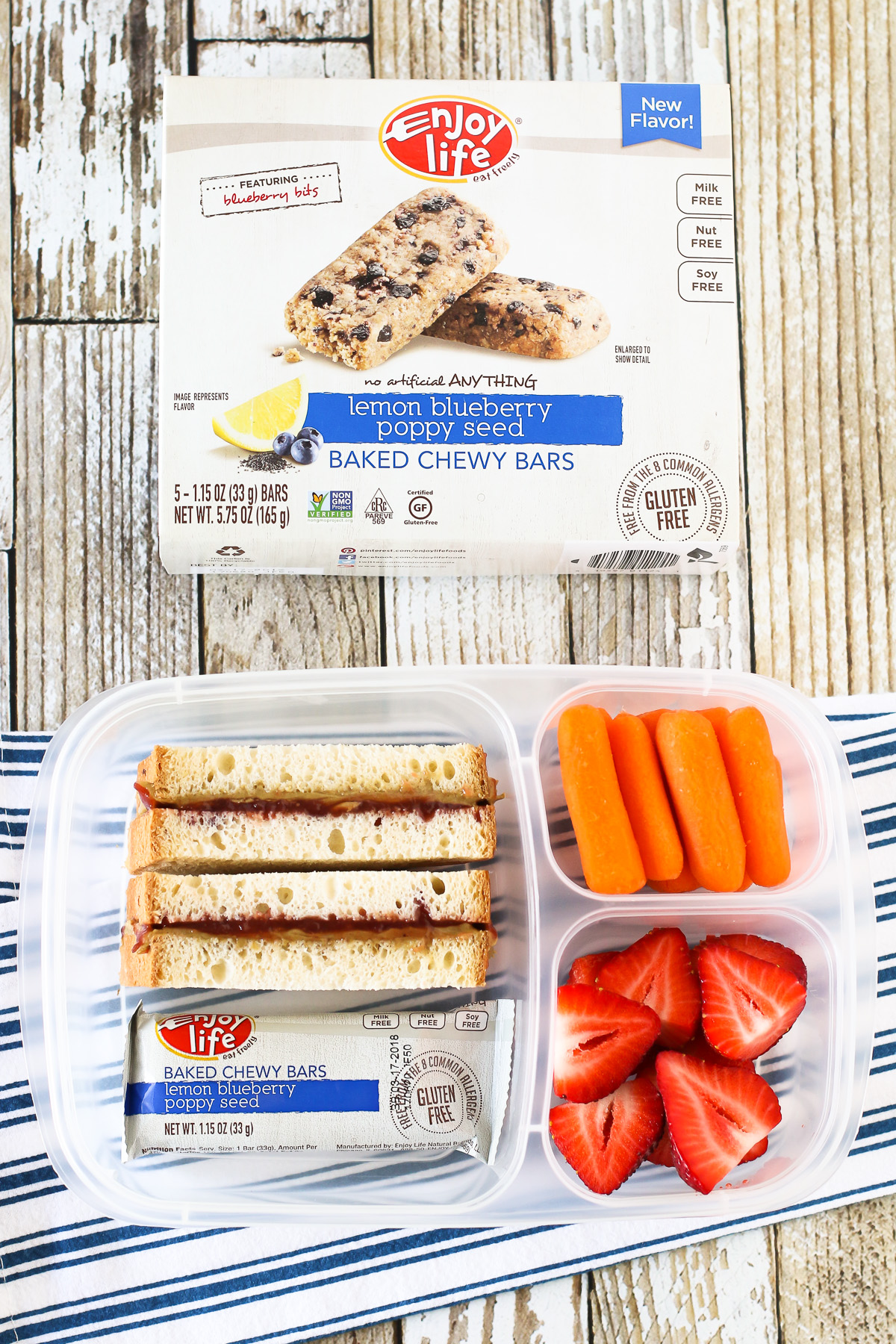 Easy Allergen Free School Lunches. Gluten free sunflower seed butter and jelly sandwich sticks, served with an Enjoy Life Baked Chewy Bar.