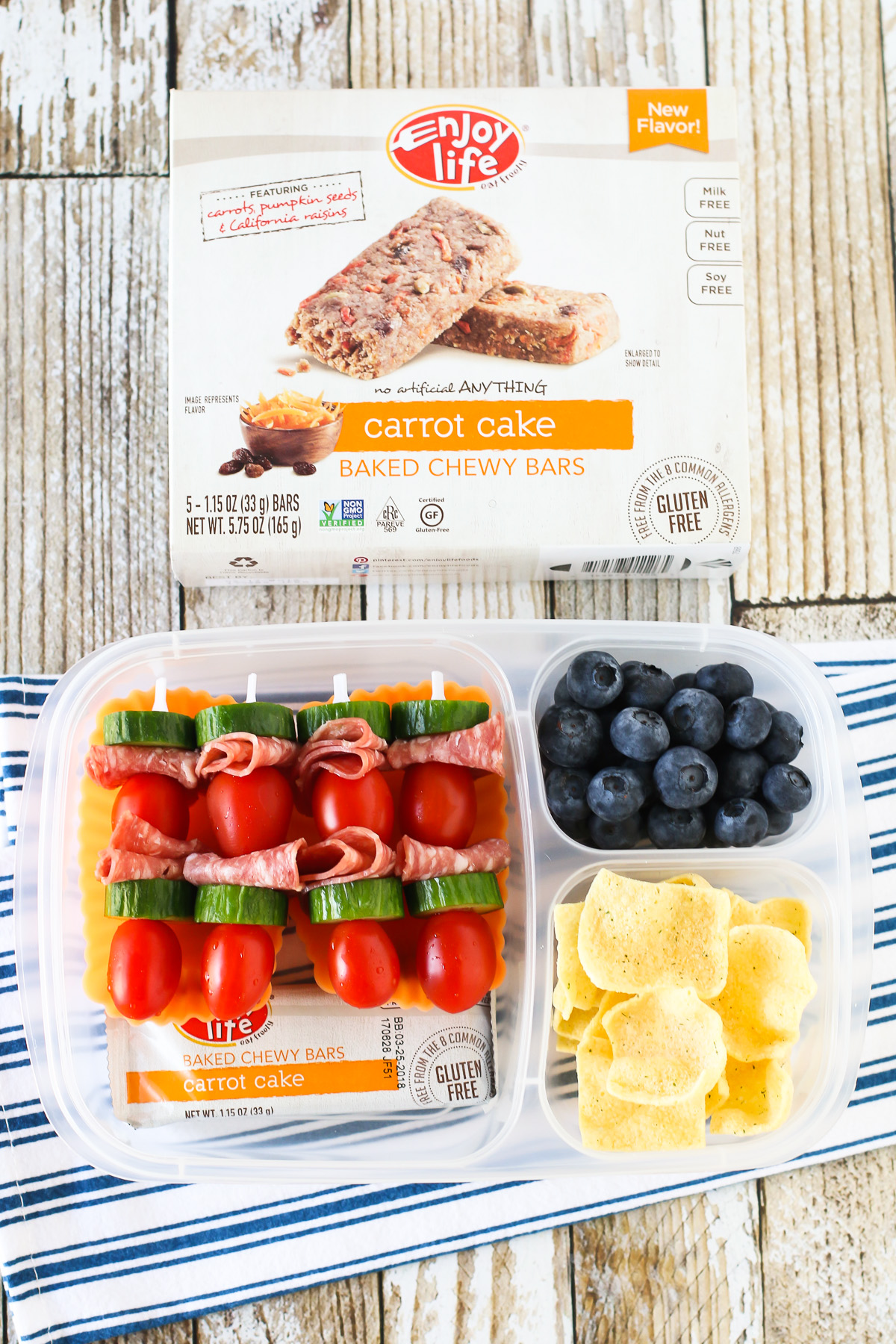 Easy Allergen Free School Lunches. Tomato, cucumber and salami skewers, served with an Enjoy Life Baked Chewy Bar.