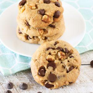 gluten free vegan chocolate chip walnut cookies