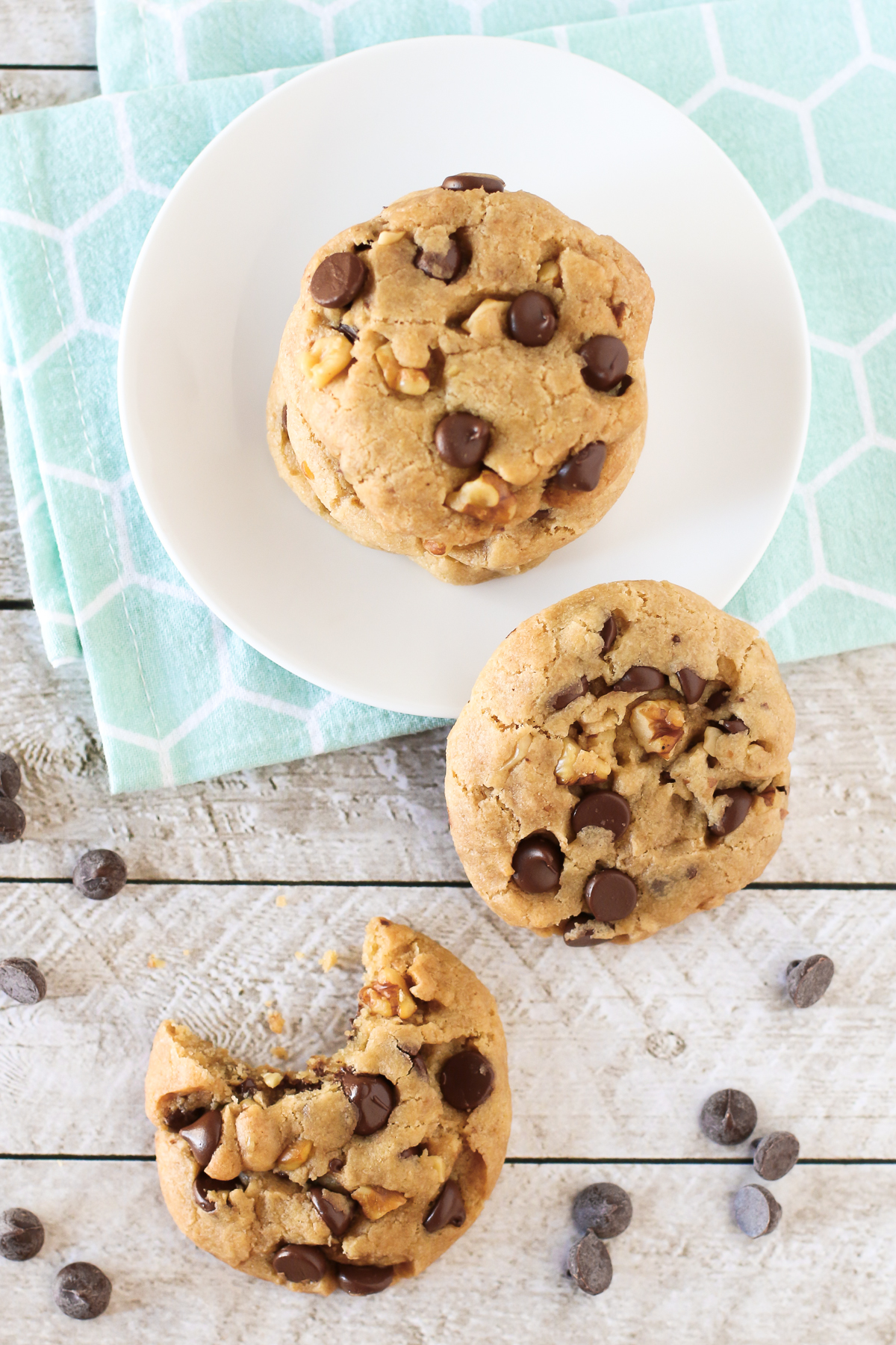 Gluten Free Vegan Chocolate Chip Walnut Cookies. Chewy, chocolatey and filled with crunchy walnuts. Just like grandma used to make them!