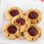 gluten free vegan peanut butter and jelly thumbprint cookies