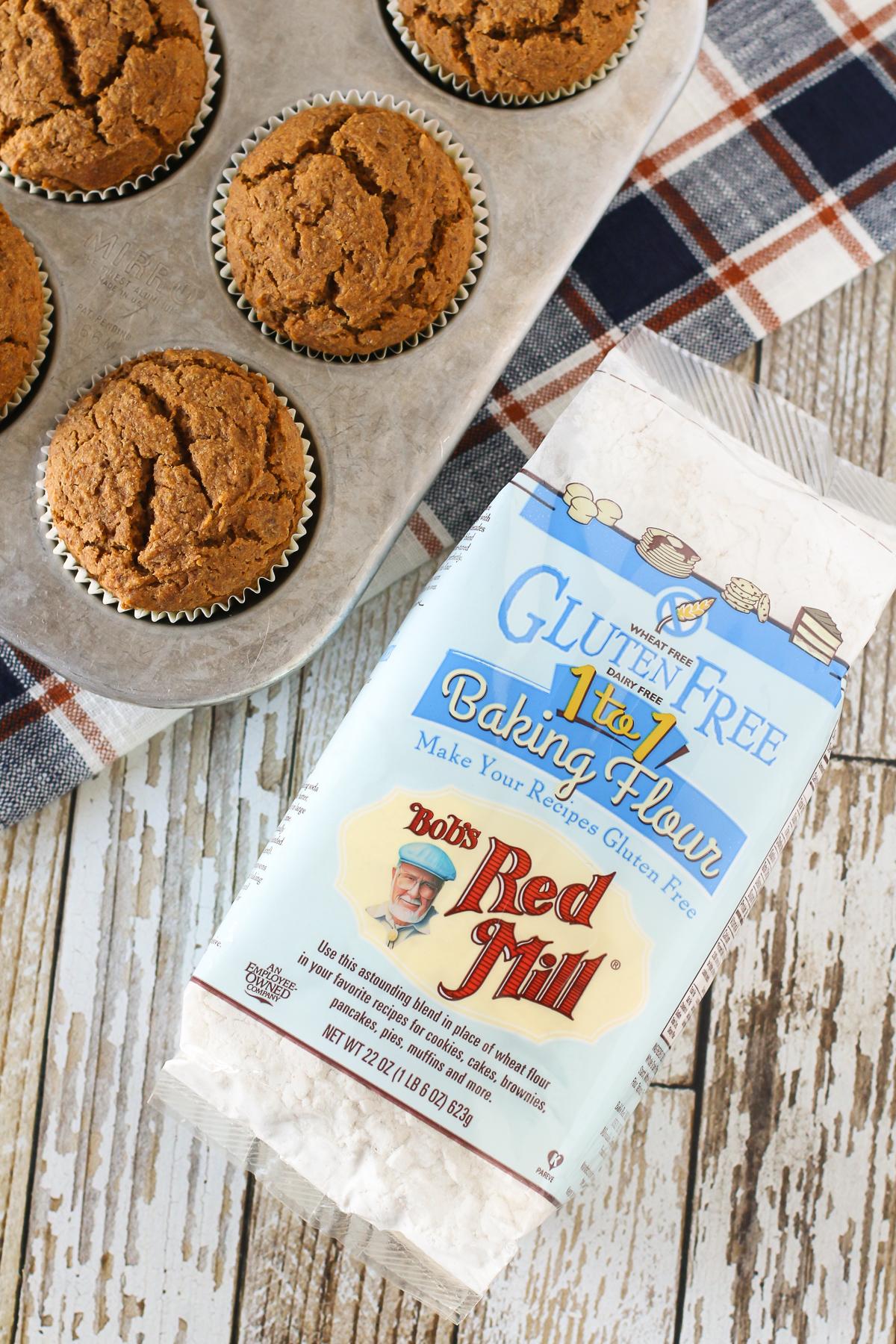 Gluten Free Vegan Pumpkin Spice Muffins, made with Bob's Red Mill Gluten Free 1-to-1 Baking Flour.