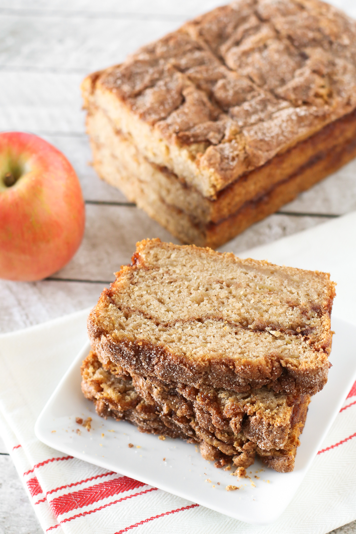 Gluten Free Vegan Apple Cinnamon Swirl Bread. Moist apple bread, with swirls of cinnamon sugar goodness.