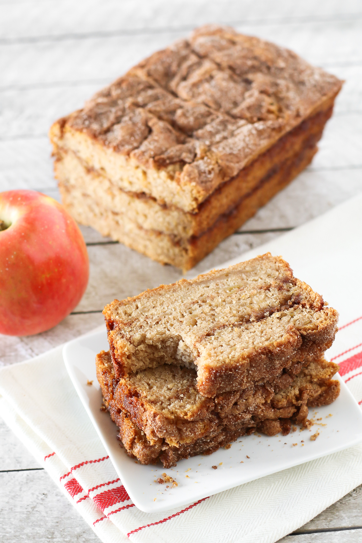 Gluten Free Vegan Apple Cinnamon Swirl Bread. Moist apple bread, with swirls of cinnamon sugar goodness.