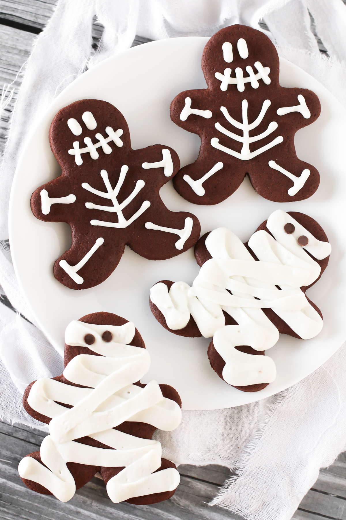 Gluten Free Vegan Halloween Chocolate Sugar Cookies. These cutout cookies are both spooky and sweet!